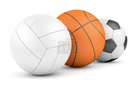 Volleyball, basketball and soccerball in row