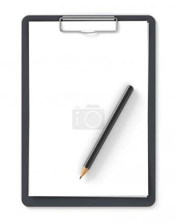 Black clipboard with pencil and blank sheets of paper