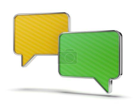 Photo pour Bicolore vert et jaune des phylactères isolés sur fond blanc. communication Web et concept chat. - image libre de droit