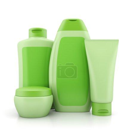 Photo pour Cosmétiques naturels biologiques ensemble. Groupe de récipients liquides verts : bouteilles, tubes et bocaux, isolés sur fond blanc . - image libre de droit