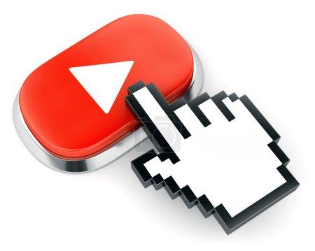Photo pour Bouton rouge avec symbole de jeu vidéo web et curseur à la main isolé sur fond blanc - image libre de droit