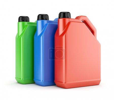Three colorful plastic canisters
