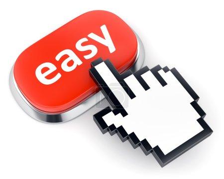 Photo pour Bouton métallique rouge avec le texte simple et de la main en forme de curseur de souris isolé sur fond blanc - image libre de droit