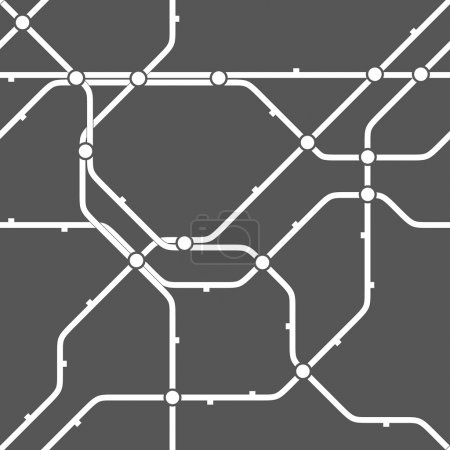 Illustration for Metro scheme, railway transport or city bus map texture. Abstract vector background. Seamless monochrome geometric pattern. - Royalty Free Image