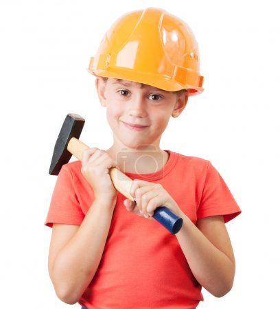 Child in the construction helmet