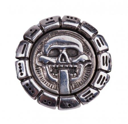 Photo pour Fragments de médaillon du calendrier maya sur fond blanc - image libre de droit