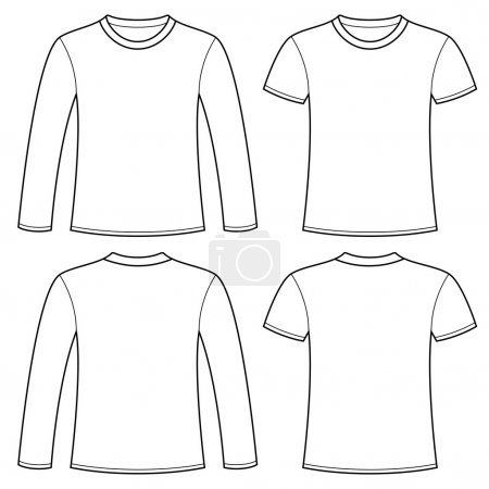 Long-sleeved T-shirt and T-shirt template. Vector ...