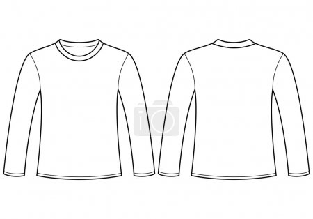 Illustration for Long-sleeved T-shirt template. Vector illustration - Royalty Free Image