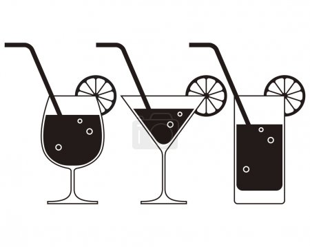 Illustration pour Des verres à cocktail. Illustration vectorielle - image libre de droit
