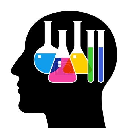 Illustration pour SIlhouette de tête avec verrerie de laboratoire. Illustration vectorielle - image libre de droit