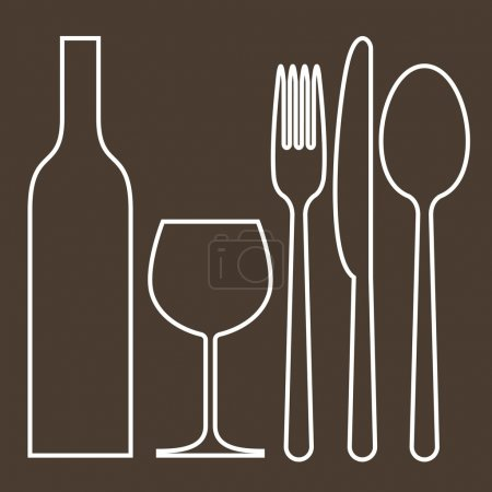 Illustration for Bottle, wineglass, fork, knife and spoon - Royalty Free Image
