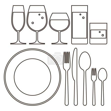 Illustration pour Assiette, couteau, fourchette, cuillère et verres à boire - image libre de droit