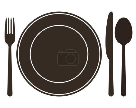 Illustration pour Assiette, couteau, cuillère et fourchette. Illustration vectorielle - image libre de droit