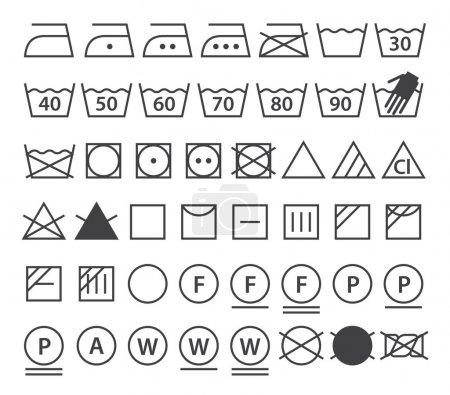 Set of washing symbols. Laundry icons