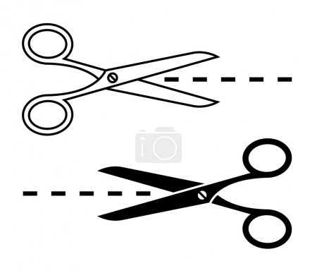 Vector scissors with cut lines. Set of cutting sci...