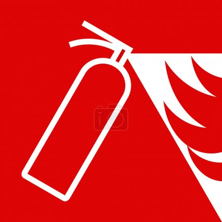 Illustration for Fire extinguisher sign on red background - Royalty Free Image