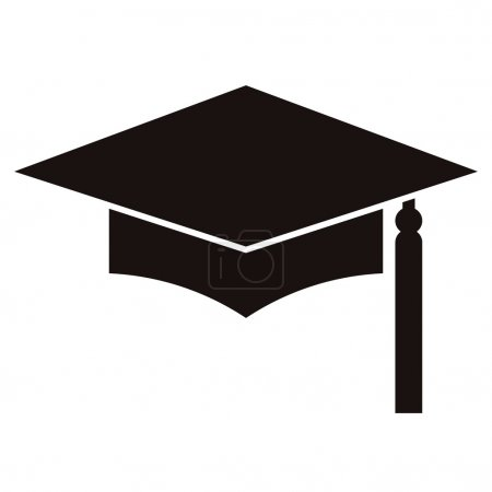 Illustration for Mortar Board or Graduation Cap isolated on a white background - Royalty Free Image
