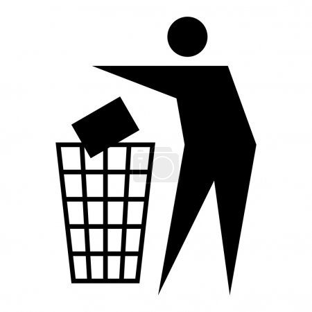 Illustration for Figure of person throwing garbage into a trash can isolated on white background - Royalty Free Image