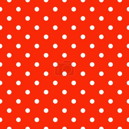 Illustration for Seamless polka dot pattern in red and white - Royalty Free Image