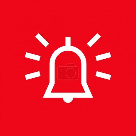 Illustration pour Icône d'alarme sur fond rouge - image libre de droit