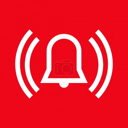 Alarm icon on red background...