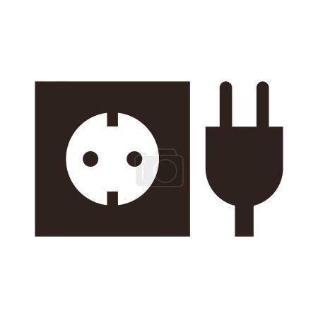 Illustration for Plug and socket icon isolated on white background - Royalty Free Image