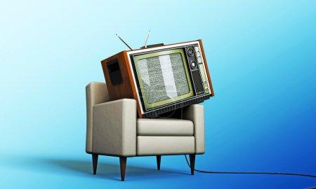 Photo pour Vieille télévision relaxante dans un fauteuil blanc isolé sur fond bleu - image libre de droit