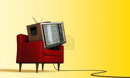 Photo for Old tv relaxing in a red armchair isolated on yellow background - Royalty Free Image
