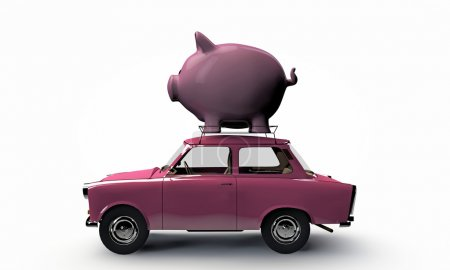 Old pink car transporting a big piggy bank on top ...