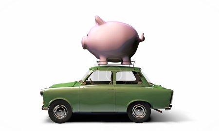Old green car trasporting a big piggy bank on top ...