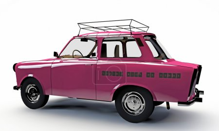 Old pink car isolated on white background...