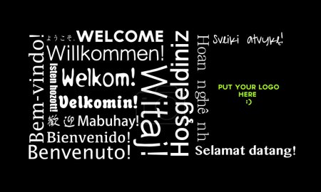 Photo pour Message de bienvenue dans toutes les langues isolés sur fond noir - image libre de droit
