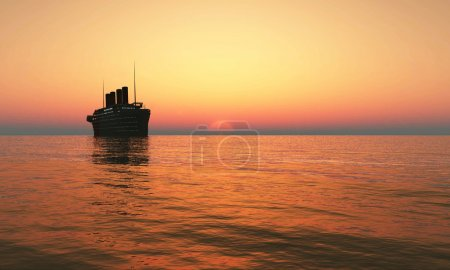 Photo for Cruise ship sailing at sunset - Royalty Free Image