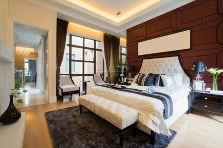 Photo for Luxury comfortable bedroom with nice decoration - Royalty Free Image