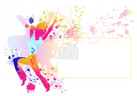 Girl silhouette with colorful splats on white