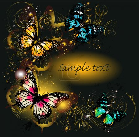 Luxury background with ornament and butterflies