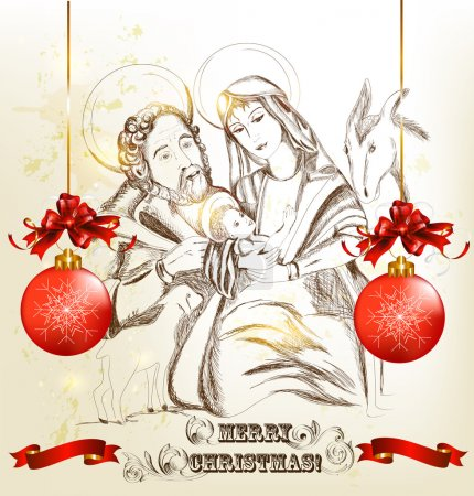 Christmas hand drawn greeting card with holy family