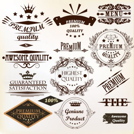 Collection of vintage vector labels best and premium quality