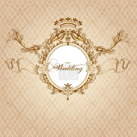Illustration for Vector wedding invitation design in classic royal style - Royalty Free Image
