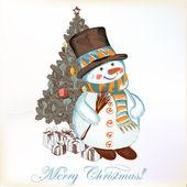 Christmas greeting card with snowman and Christmas tree