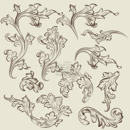 Vector set of vintage swirl ornaments for design