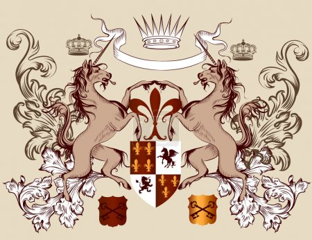 Heraldic design with coat of arms horses in vintage style