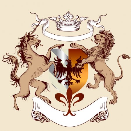 Heraldic design with coat of arms, lion and horse in vintage sty