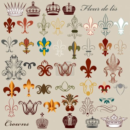 Collection of vector heraldic fleur de lis and crowns