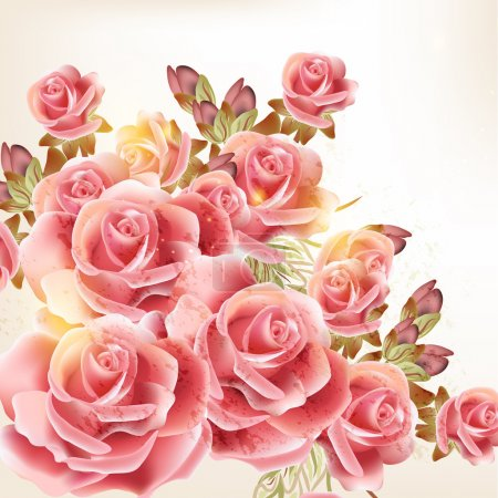 Illustration for Vector cute pink roses in vintage style for design - Royalty Free Image