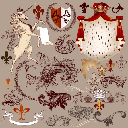 Heraldic vector set of detailed vintage elements