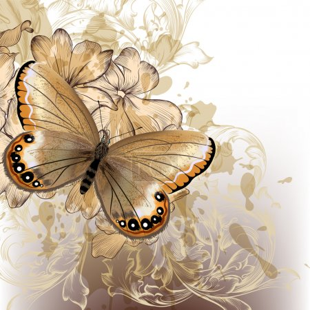 Illustration for Vector fashion illustration with detailed butterfly for design - Royalty Free Image