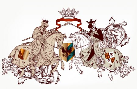 Heraldic design with two knights on horses