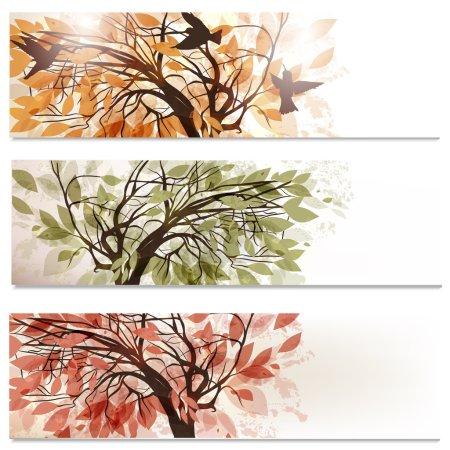 Illustration pour Ensemble vectoriel de décors abstraits avec arbre dans le feuillage - image libre de droit