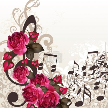 Illustration for Floral vector background with roses and music elements - Royalty Free Image